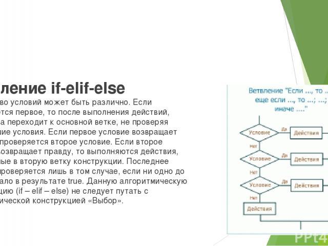 Ветвление if-elif-else Количество условий может быть различно. Если выполняется первое, то после выполнения действий, программа переходит к основной ветке, не проверяя дальнейшие условия. Если первое условие возвращает ложь, то проверяется второе ус…