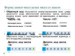 Формы записи чисел целых чисел со знаком Обратный код получается инвертированием