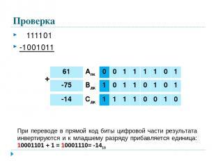 Проверка 111101 -1001011 При переводе в прямой код биты цифровой части результат