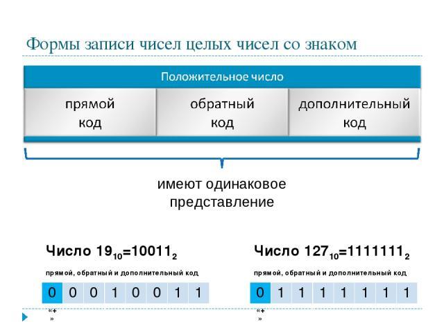 Формы записи чисел целых чисел со знаком имеют одинаковое представление Число 1910=100112 прямой, обратный и дополнительный код 0 0 0 1 0 0 1 1 «+» Число 12710=11111112 прямой, обратный и дополнительный код 0 1 1 1 1 1 1 1 «+»
