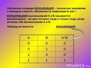 Логическая операция КОНЪЮНКЦИЯ – логическое умножение с помощью союза И, обознач