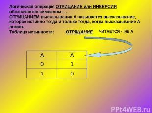 Логическая операция ОТРИЦАНИЕ или ИНВЕРСИЯ обозначается символом - . ОТРИЦАНИЕМ