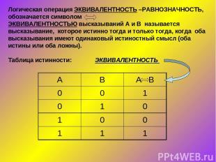 Логическая операция ЭКВИВАЛЕНТНОСТЬ –РАВНОЗНАЧНОСТЬ, обозначается символом ЭКВИВ