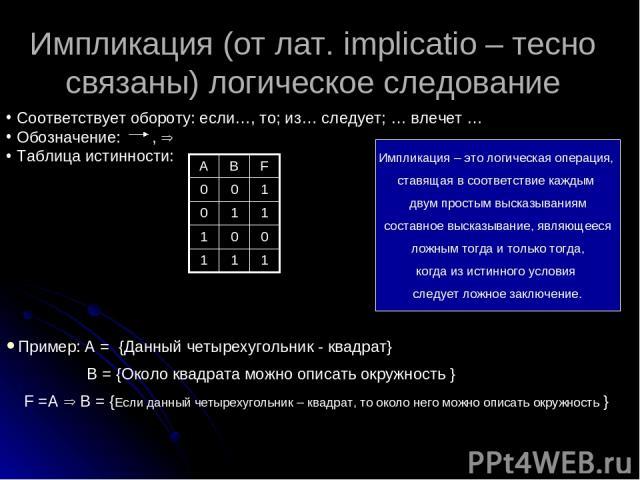 Импликация (от лат. implicatio – тесно связаны) логическое следование Соответствует обороту: если…, то; из… следует; … влечет … Обозначение: , Таблица истинности: Пример: А = {Данный четырехугольник - квадрат} В = {Около квадрата можно описать окруж…