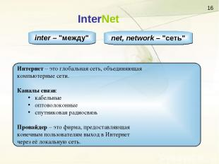 """InterNet inter – """"между"""" net, network – """"сеть"""" Интернет – это глобальная сеть, о"""