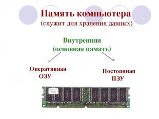 Память компьютера (служит для хранения данных) Внутренняя (основная память)