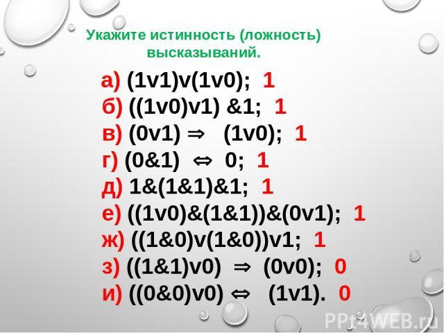 а) (1v1)v(1v0); 1  б) ((1v0)v1) &1; 1  в) (0v1) Þ (1v0); 1  г) (0&1) Û 0; 1  д) 1&(1&1)&1; 1  е) ((1v0)&(1&1))&(0v1); 1  ж) ((1&0)v(1&0))v1; 1  з) ((1&1)v0) Þ (0v0); 0  и) ((0&0)v0) Û  (1v1…