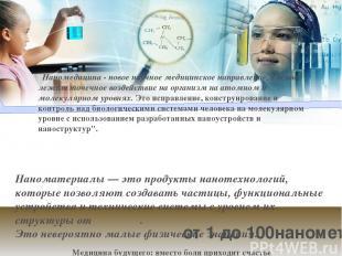 Наноматериалы— это продукты нанотехнологий, которые позволяют создавать частицы