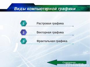 Виды компьютерной графики Содержание Растровая графика 1 Векторная графика 2 Фра