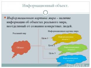 Информационный объект. Информационная картина мира – наличие информации об объек