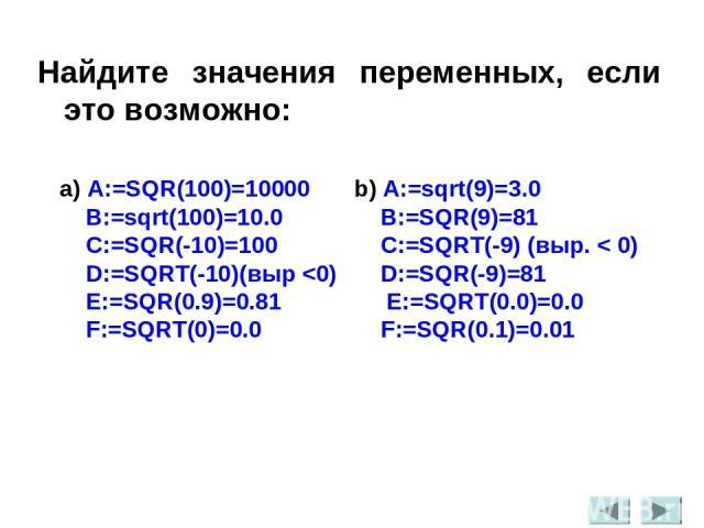 Найдите значения переменных, если это возможно: a) A:=SQR(100)=10000 b) A:=sqrt(9)=3.0 B:=sqrt(100)=10.0 B:=SQR(9)=81 C:=SQR(-10)=100 C:=SQRT(-9) (выр. < 0) D:=SQRT(-10)(выр