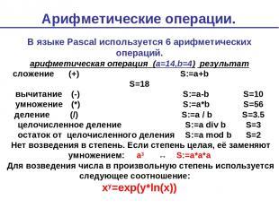 Арифметические операции. В языке Pascal используется 6 арифметических операций.