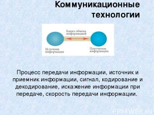 Процесс передачи информации, источник и приемник информации, сигнал, кодирование