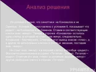 Анализ решения Из условия 6 видно, что синоптики не Коновалов и не Семенов. Усло