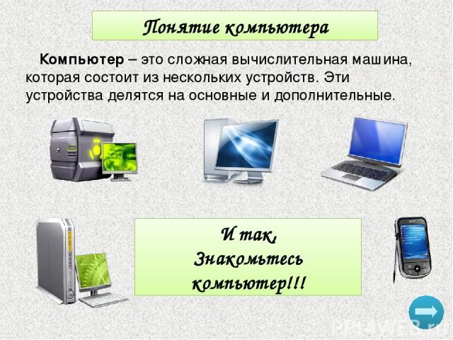 Понятие компьютера Компьютер – это сложная вычислительная машина, которая состоит из нескольких устройств. Эти устройства делятся на основные и дополнительные. И так, Знакомьтесь компьютер!!!
