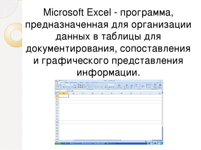 Microsoft Excel - программа, предназначенная для организации данных в таблицы для документирования, сопоставления и графического представления информации.