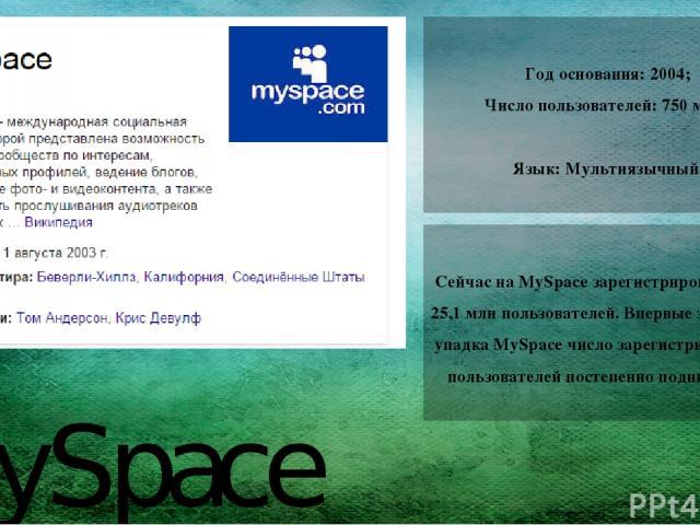 MySpace Год основания: 2004; Число пользователей:750 млн. Язык:Мультиязычный. Сейчас на MySpace зарегистрировано более 25,1 млн пользователей. Впервые за историю упадка MySpace число зарегистрированных пользователей постепенно поднимается.