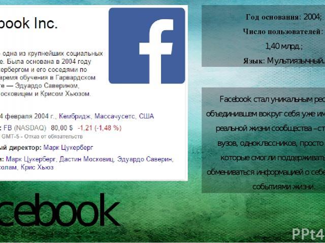 Facebook Год основания: 2004; Число пользователей: 1,40 млрд.; Язык:Мультиязычный. Facebook стал уникальным ресурсом, объединившем вокруг себя уже имеющиеся в реальной жизни сообщества –студентов вузов, одноклассников, просто друзей, которые смогл…