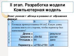 II этап. Разработка модели Компьютерная модель Электронная таблица в режиме отоб