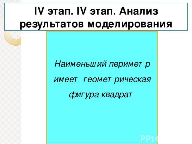 На основе полученных расчетов сделать вывод о длинах сторон для получения наименьшего периметра IV этап. IV этап. Анализ результатов моделирования Наименьший периметр имеет геометрическая фигура квадрат