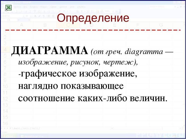 Определение ДИАГРАММА (от греч. diagramma — изображение, рисунок, чертеж), -графическое изображение, наглядно показывающее соотношение каких-либо величин.