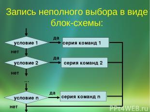 Запись неполного выбора в виде блок-схемы: да нет серия команд 2 да серия команд