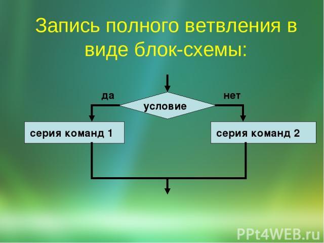 Запись полного ветвления в виде блок-схемы: условие серия команд 1 серия команд 2 да нет