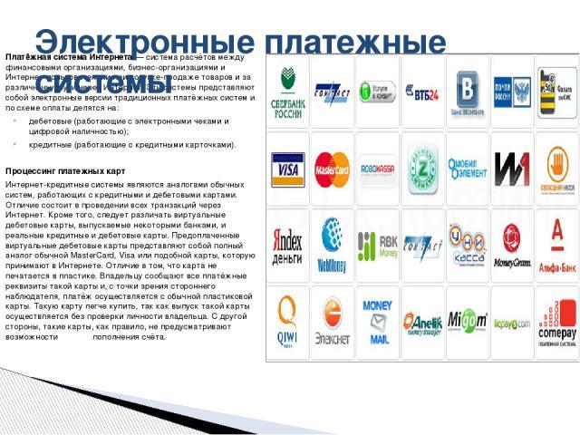 Платёжная система Интернета— система расчётов между финансовыми организациями, бизнес-организациями и Интернет-пользователями при покупке-продаже товаров и за различные услуги через Интернет. Эти системы представляют собой электронные версии традиц…