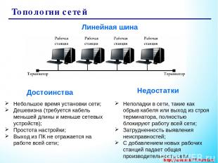 Топологии сетей Линейная шина Небольшое время установки сети; Дешевизна (требует