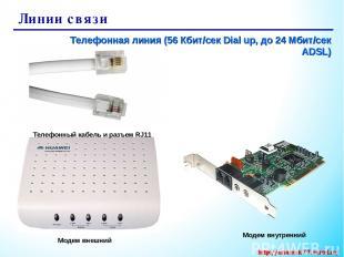 Линии связи Телефонная линия (56 Кбит/сек Dial up, до 24 Мбит/сек ADSL) Модем вн