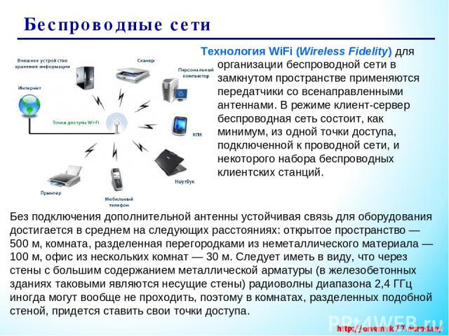 Беспроводные сети Технология WiFi (Wireless Fidelity) для организации беспроводной сети в замкнутом пространстве применяются передатчики со всенаправленными антеннами. В режиме клиент-сервер беспроводная сеть состоит, как минимум, из одной точки дос…