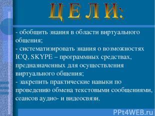 - обобщить знания в области виртуального общения; - систематизировать знания о в