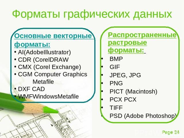 Форматы графических данных Распространенные растровые форматы: BMP GIF JPEG, JPG PNG PICT (Macintosh) PCX PCX TIFF PSD (Adobe Photoshop) Основные векторные форматы: AI(AdobeIllustrator) CDR (CorelDRAW CMX (Corel Exchange) CGM Computer Graphics Metaf…