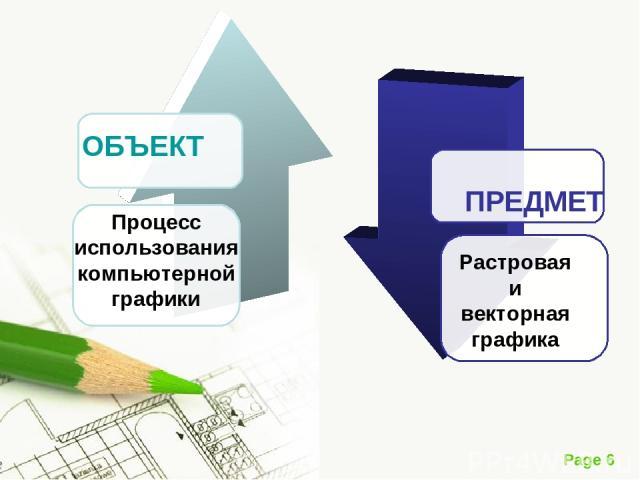 ОБЪЕКТ Процесс использования компьютерной графики Растровая и векторная графика ПРЕДМЕТ Page *
