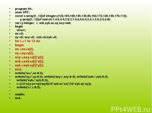 program hh; uses CRT; const x:array[1..12]of integer=(122,105,100,145,130,90,162