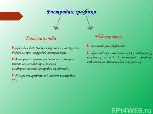 Растровая графика Достоинства Недостатки Пригоден для ввода изображений со скане