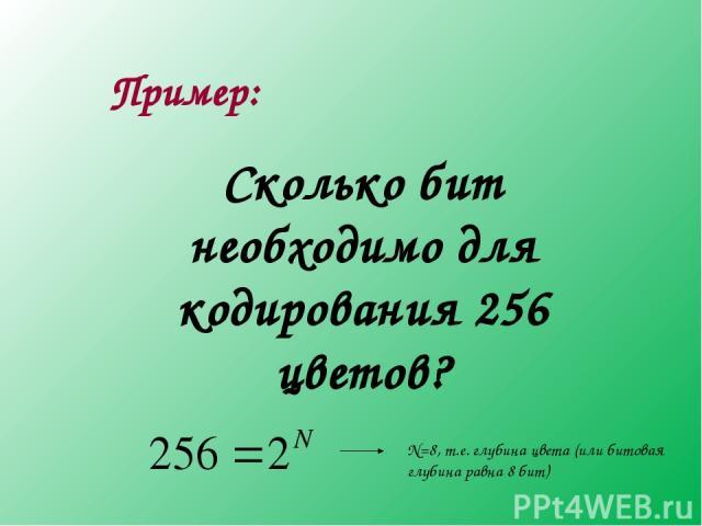 Пример: Сколько бит необходимо для кодирования 256 цветов? N=8, т.е. глубина цвета (или битовая глубина равна 8 бит)