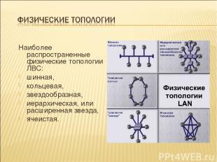 Наиболее распространенные физические топологии ЛВС: шинная, кольцевая, звездообр