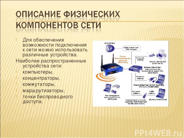 Для обеспечения возможности подключения к сети можно использовать различные устройства. Наиболее распространенные устройства сети: компьютеры, концентраторы, коммутаторы, маршрутизаторы, точки беспроводного доступа.