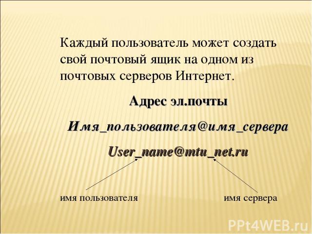 Каждый пользователь может создать свой почтовый ящик на одном из почтовых серверов Интернет. Адрес эл.почты Имя_пользователя@имя_сервера User_name@mtu_net.ru имя пользователя имя сервера