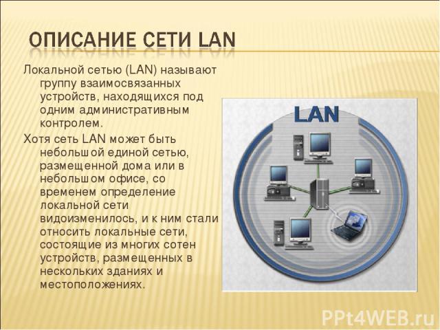 Локальной сетью (LAN) называют группу взаимосвязанных устройств, находящихся под одним административным контролем. Хотя сеть LAN может быть небольшой единой сетью, размещенной дома или в небольшом офисе, со временем определение локальной сети видоиз…