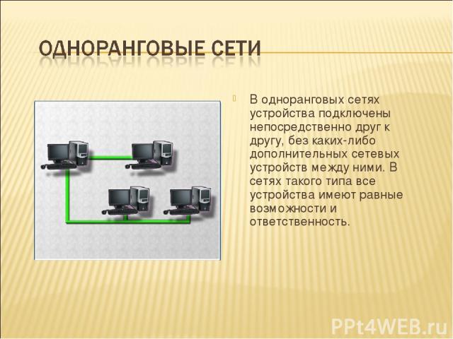В одноранговых сетях устройства подключены непосредственно друг к другу, без каких-либо дополнительных сетевых устройств между ними. В сетях такого типа все устройства имеют равные возможности и ответственность.
