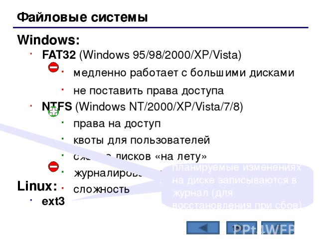 Состав операционной системы (II) утилита (лат. utilitas – польза) – это служебные программы для проверки и настройки компьютера: разбивка диска на разделы (fdisk.exe) форматирование диска (format.com) тестирование диска (chkdsk.exe) редактирование р…