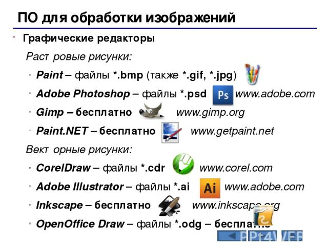 Офисное ПО Электронные таблицы – для выполнения расчетов с табличными данными Microsoft Excel – файлы *.xls, *.xlsx OpenOffice Calc – файлы *.ods – бесплатно Системы управления базами данных Microsoft Access – файлы *.mdb, *.accdb OpenOffice Base – …