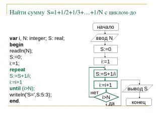 Найти сумму S=1+1/2+1/3+…+1/N с циклом-до начало ввод N S:=0 i:=1 S:=S+1/i i:=i+