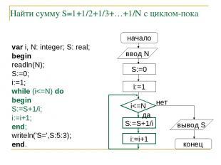Найти сумму S=1+1/2+1/3+…+1/N с циклом-пока начало ввод N S:=0 i:=1 S:=S+1/i i:=