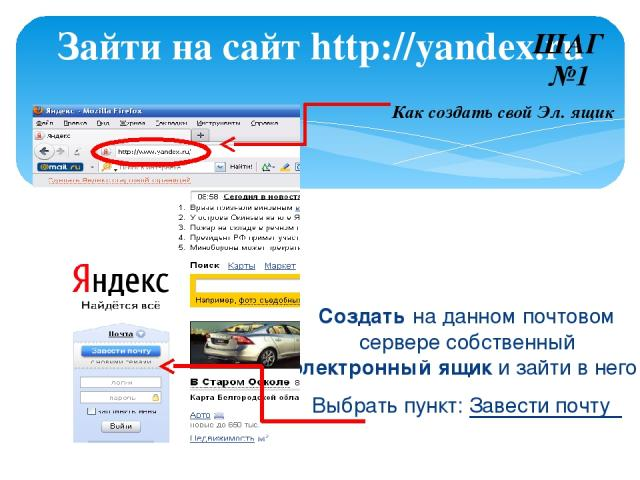 Создать на данном почтовом сервере собственный электронный ящик и зайти в него: Выбрать пункт: Завести почту Зайти на сайт http://yandex.ru ШАГ №1 Как создать свой Эл. ящик