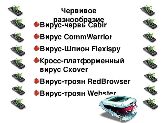 Вирус-червь Cabir Вирус CommWarrior Вирус-Шпион Flexispy Кросс-платформенный вирус Cxover Вирус-троян RedBrowser Вирус-троян Webster Червивое разнообразие