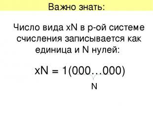 Важно знать: Число вида хN в p-ой системе счисления записывается как единица и N