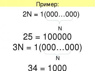 Пример: 2N = 1(000…000) N 25 = 100000 3N = 1(000…000) 34 = 1000 N